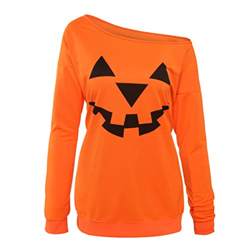 (Rysly Womens Sexy Off The Shoulder Halloween Pumpkin Sweatshirts Pullover Costumes Plus Size XXL)