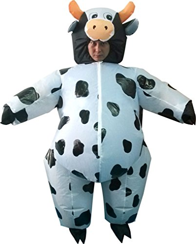 Qshine Inflatable Milk Cow Cosplay Costume Halloween Funny Fancy Dress Blow up Suit