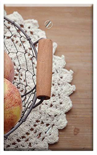 Single-Gang Blank Wall Plate Cover - Apple Basket Harvest Healthy Bio Fruit Basket ()