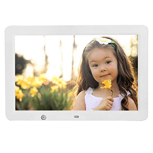 YKS Digital Picture Frame 12 inch with Motion Sensor & 8GB U Disk Memory HD 1280x800 Frame Wide Screen View Pictures Listen to Music MP3 Video MP4 (White)
