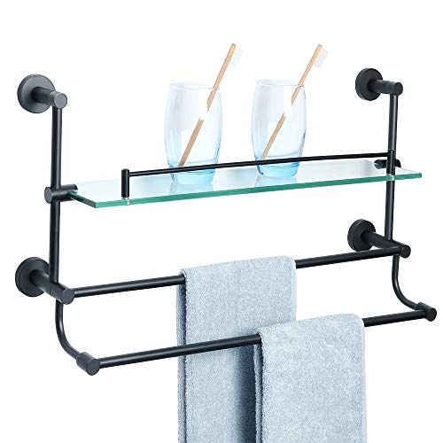 Alise Bathroom Shelf SUS 304 Stainless Steel Shower Glass Shelf with Double Towel Bar/Rail Towel Rack Wall Mount,Matte Black GY9800-B