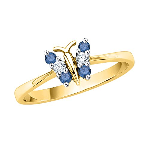 KATARINA Blue and White Diamond Butterfly Ring in 14K Yellow Gold (1/5 cttw, J-K, I2-I3) (Size-6.75)
