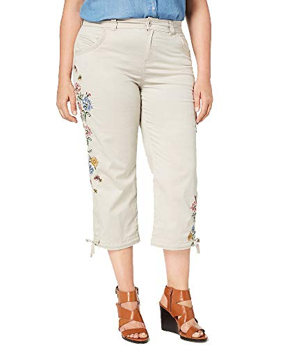 Style&Co Plus Size Petal Fusion Embroidered Cropped Pants (Stonewall, 24W)