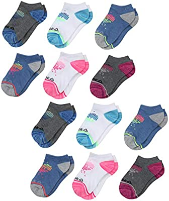 Reebok Girls' Flat Knit Comfort Athletic Low Cut Socks (12
