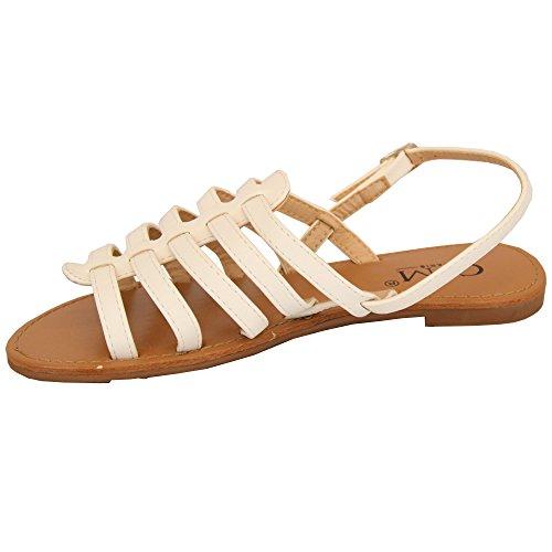 Sandales Bout Femmes Ouvert Lanière Spartiates Blanc À Soirée Été Chaussures 883956a Plates Boucle Mcm qY1wE1