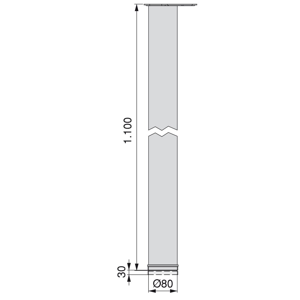 Pie de mesa regulable /Ø 80 x 710 mm de acero cromado Emuca 2037511