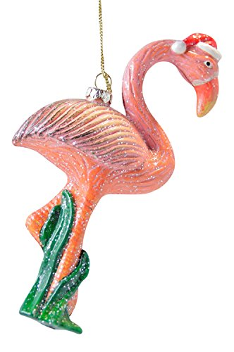 Pretty Pink Flamingo in Santa Hat Christmas Holiday Ornament