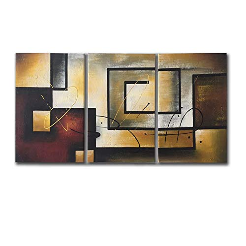 Mon Art Dark Brown Oil Painting for Office Decoration Abstract Geometry Picture Canvs Paint Drawing Poster Artwork Modern Contemporary Retro Home Decor for Living Room Bedroom,Unframed,16