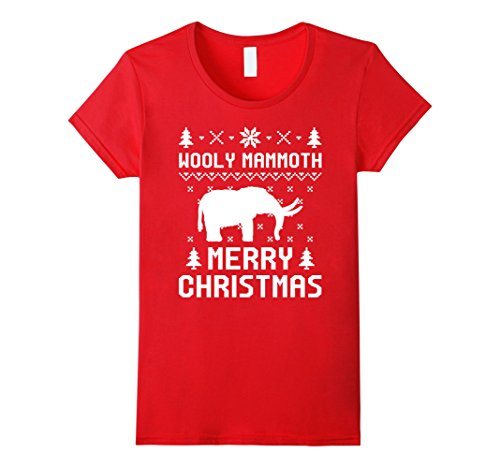[Womens Wooly Mammoth Ugly Christmas Sweater T-shirt XL Red] (Wooly Mammoth Costumes)