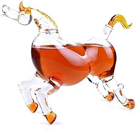 ZRXRY Jarra de Whisky Animal, 1000ml Caballo Derby de Cristal Figura, Plomo Mouthblown Licor Decantador de Bourbon, Whisky, Whisky, Ron, Tequila