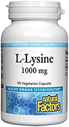 Natural Factor L-Lysine 1,000 mg 90 Vcaps 2 pack
