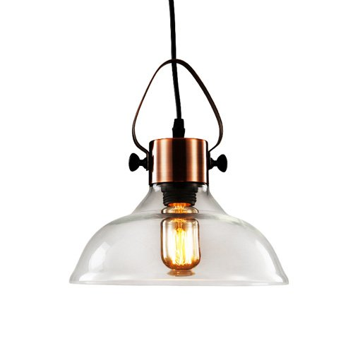 Industrial Edison Vintage Glass Pendant Lighting-LITFAD Classic Dome Pendant Chandelier Mounted Light Fixtures Copper Finish -