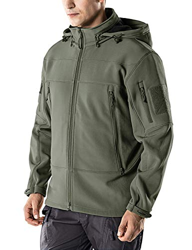 Farvalue Men's Waterproof Jacket Military Light Tactical Spring Casual Outdoor Jacket with Hideaway Hood