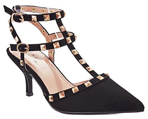 Shoes Bridesmaid Designer (JJF Shoes Designer Myra1 Black Nubuck T-Strap Rivet Studded Ankle Cuff Stiletto Heel Platform Sandal Pumps-5.5)