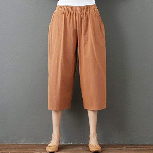 Casual Party Haute Girl Summer En Unicolor Large Élastique Kamel Pantalon Mode Palazzo Style Lin Femme Jambe Taille Confortable Élégant I0gPF