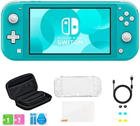 Newest Nintendo Switch Lite Game Console, Turquoise, Bundled with 8-1 Accessories Include Portable Carry Bag & Cover Case & USB Charging Cable & 6 Thumb Grips & HD Tempered Glass Screen Protectors