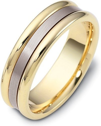 - 6.5mm 18 Karat Yellow Gold & Titanium Wedding Band Ring - 11