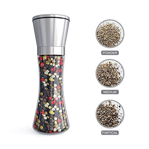 Fsdifly Original Stainless Steel Salt or Pepper Grinder - Tall Salt or Pepper Shakers Set with Adjustable Coarseness - Salt Grinders or Pepper Mill Shaker (Single Package)