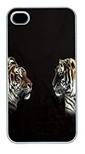 IPhone 4S Cases Face Off Tiger Polycarbonate Hard Case Back Cover for iPhone 4/4S White