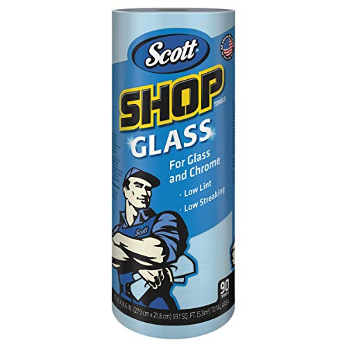 Scott 32896 Shop Towels, Glass, 1-Ply, 8.6' x 11', Blue, 90 Sheets per Roll (Case of 12 Rolls)