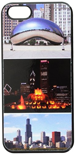 Graphics and More Chicago Bean Buckingham Fountain City Skyline Snap-On Hard Protective Case for iPhone 5/5s - Non-Retail Packaging - Black