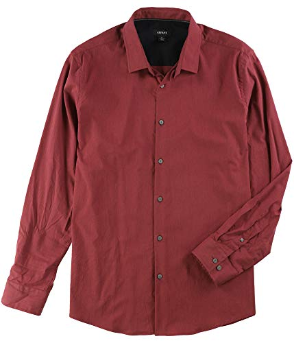 Alfani Dark Mens Stretch Button Down Long-Sleeve Shirt Red 2XL