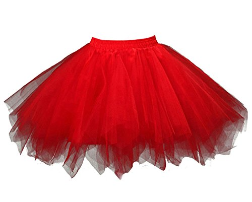 Loreone Women's Rainbow TuTu Petticoats Crinoline Dance Adult Skirt Red-S/M