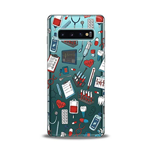 Lex Altern Samsung Galaxy TPU Case s10 Plus A6s s9 Plus A8 s8 A9 Note Medicine Clear Medical Cute Print Protective Science Pattern Cover Doctor Girls Women Transparent Flexible Silicone Heart Present