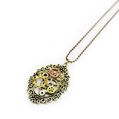 Steampunk Oval Gear Pendant Necklace – Vintage Gear Cosplay Jewelery
