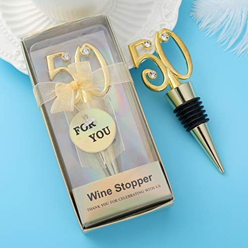 24 pcs 50th Wine Bottle Stopper Wedding Anniversary Favor Birthday Party Decoration,Wedding Favors for Guests, 50 Golden Wedding Anniversary Bride Shower Party Gift Decoration Souvenirs by WeddParty