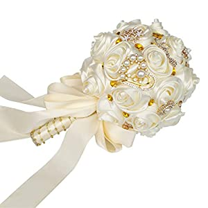 HORHIN Handmade Wedding Bouquet Crystal Pearl Silk Roses Rhinestone Bridal Bridesmaid Wedding Hand Bouquet Artificial FlowersIvory 4