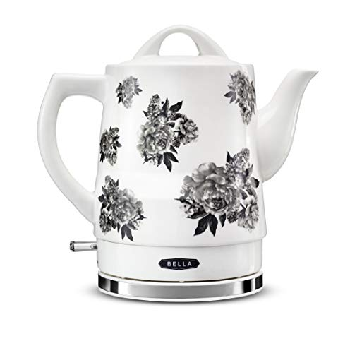 BELLA (14746) 1.5 Liter Electric Ceramic Tea Kettle with Boil Dry Protection & Detachable Swivel Base, Black Floral