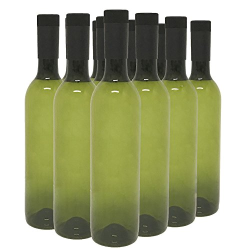 (Plastic Wine Bottles & Screw Caps, Green, 750ml - Pack of 12)