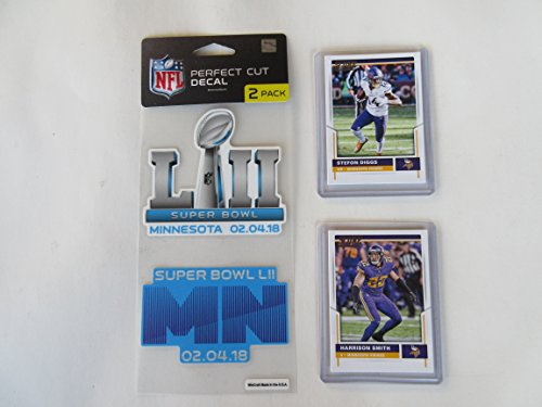 SUPER BOWL 52 MINNESOTA 2 DESIGN DECALS PLUS 2 COLLECTIBLE PLAYER CARDS (MINNESOTA CARDS OR ANY OTHER NFL TEAM CAN BE ORDERED)