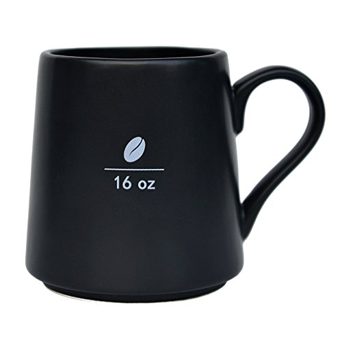 Mecraft 16 Ounce Black Ceramic Coffee Bean Mug For Men and Women,Diy For Decoration,Giftbox