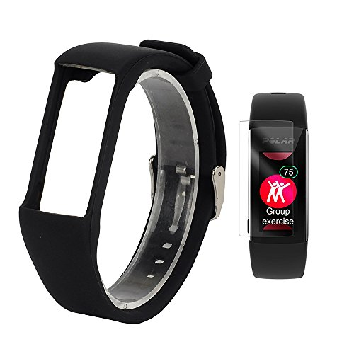 TUSITA Replacement Soft Silicone Band with Screen Protector Bracelet Sport Strap WristBand Accessory for Polar A360 (Black) - Watch Band Polar