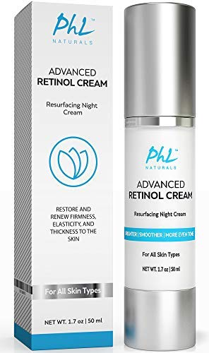 Anti-Wrinkle Retinol Cream with Hyaluronic Acid - Rapid Results in 2-4 Weeks -Gentle Anti Aging Moisturizer Night Cream for Women and Men - Rose Water, Jojoba, and Aloe Vera - USA Made, 1.7 Ounce