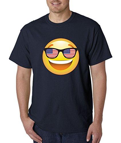 T-Shirt Emoji Smiley Face USA American Flag Sunglasses 4th July 4XL Navy ()