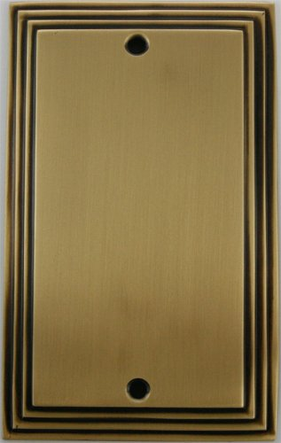 (Deco Step Style Antique Brass 1 Gang Blank Wall Plate)