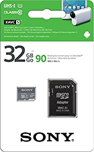 Sony SR-32UY3A/GT High Speed 32GB Class 10 Micro SDHC UHS-I Memory Card up to 90MB/ s with Adapter