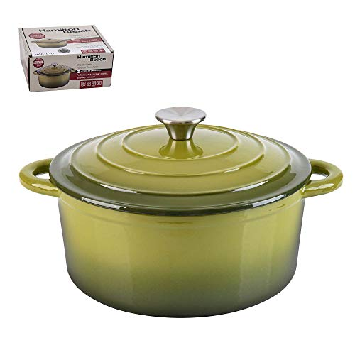 Hamilton Beach 5.5 Quart Enameled Cast Iron Covered Round Dutch Oven Pot, Green
