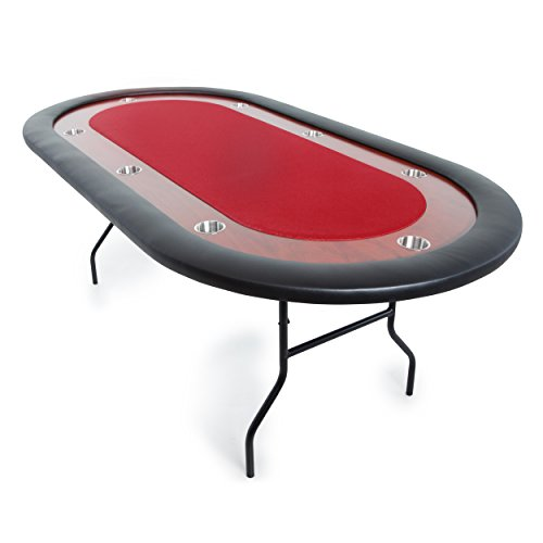 BBO Poker Ultimate Jr. Folding Poker Table for 8 Players with Red Speed Cloth Playing Surface, 82 x 44-Inch (Folding Oval Poker Table)