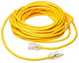 Coleman Cable 01788 10/3 Insulated Outdoor Extension Cord with Lighted End, 50-Foot