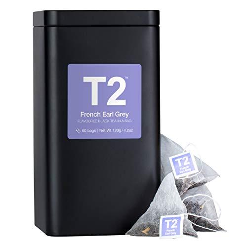 T2 Tea - French Earl Grey Black Tea, Bags in Tea Caddy, 120g (4.2oz), 60 Tea Bags ()