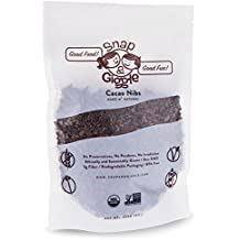 Snap and Giggle Cacao Nibs, Excellent For Keto and Vegan Snacks, Organic, Unsweetened Low Carb Dark Bitter Chocolate, High In Fiber and Magnesium, Non GMO, No Gluten, 226 Grams