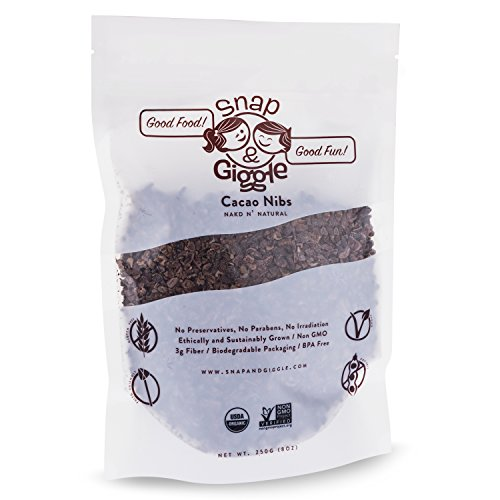 - Snap and Giggle Raw Organic Cacao Nibs, Sugar Free Chocolate Chips, Excellent for Keto, Paleo, and Vegan Snacks, Natural Flavor, High in Fiber, Magnesium, and Iron, 226 Grams