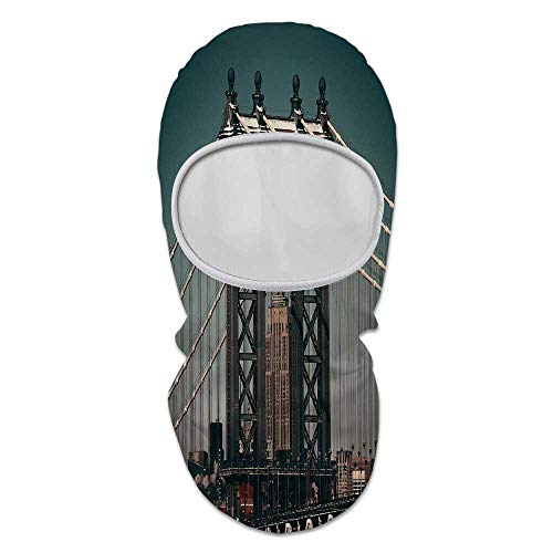 (Scenery Decor Durable Face Gini,City Lights Landscape View with Bridge Empire State Building Skyscrapes Picture for Outdoor,8.6