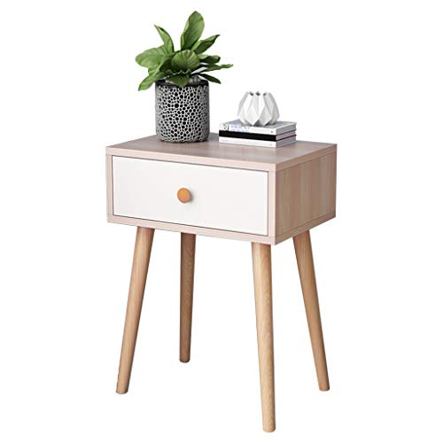 (Micozy Nightstand with Storage Drawer - Walnut Side End Table Bedroom Shelf - Solid Wood Legs Living Room Furniture 21.6''H - White/Brown Mid-Century Style)