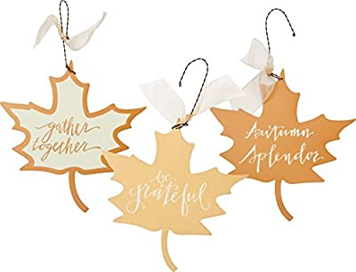 PBK Fall Decor - Tin Ornaments Autumn Spendor Be Grateful Theme 3pc Set #29221