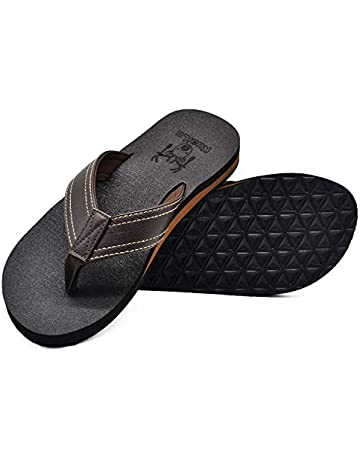 db7651c102510 KUAILU Men's Yoga Mat Leather Flip Flops Thong Sandals with Arch Support